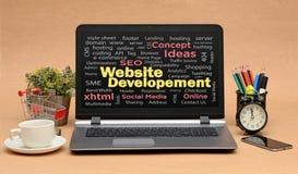 De Woordencollage van de websiteontwikkeling in Laptop het scherm stock fotografie