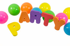 De woordenpartij met kleurrijke ballen op wit Royalty-vrije Stock Fotografie