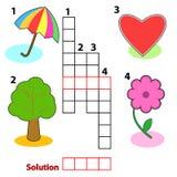 De woordenspel van het kruiswoordraadsel voor kinderen Royalty-vrije Stock Afbeeldingen