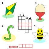 De woordenspel van het kruiswoordraadsel voor kinderen Stock Fotografie