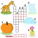 De woordenspel van het kruiswoordraadsel voor kinderen Royalty-vrije Stock Foto