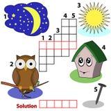 De woordenspel van het kruiswoordraadsel voor kinderen Stock Afbeeldingen