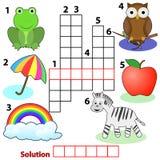 De woordenspel van het kruiswoordraadsel voor kinderen Stock Foto