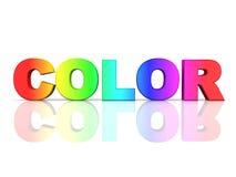 De woordKLEUR in regenboogkleuren Stock Illustratie