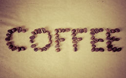 De woordkoffie van bonen stock foto