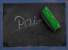 De woordpijn die in krijt op een bord wordt geschreven die worden gewist Stock Fotografie