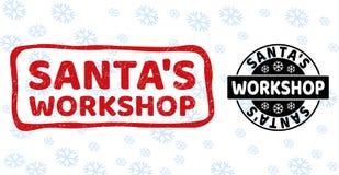 De Workshop Grunge van de kerstman en Schone Zegelverbindingen voor Kerstmis royalty-vrije illustratie