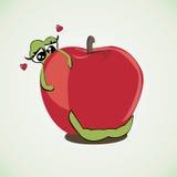 De worm houdt van zijn vectorillustratie van de huisappel Stock Afbeeldingen
