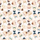De worstelaars naadloos patroon van Sumo van het beeldverhaal Stock Fotografie