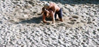 De Worstelaars van het zand Stock Fotografie