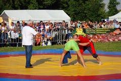 De worstelaars vechten op ring Stock Afbeeldingen