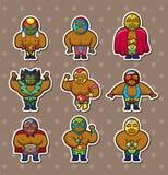 De worstelaarsstickers van het beeldverhaal Stock Fotografie