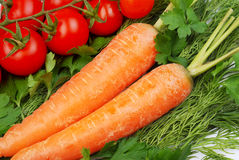 De wortelen en de tomaten en andere groenten Royalty-vrije Stock Afbeelding