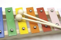 De xylofoon van het stuk speelgoed op wit Stock Afbeelding