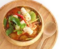 De yam kong soep van Tom op wihte achtergrond Thais voedsel - beweeg gebraden gerecht #6 Stock Afbeelding