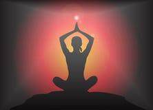 De yoga bewapent Luchtlotus pose glare background Stock Fotografie