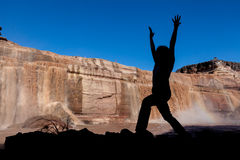 De yoga bij Grand valt Arizona Royalty-vrije Stock Foto's