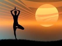 De yoga stelt bij zonsondergang vector illustratie
