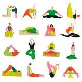 De yoga stelt geplaatste asanas royalty-vrije illustratie