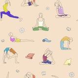 De yoga stelt kleurrijk patroon Achtergrondlijnillustratie, vrouwenhoudingen Stock Afbeeldingen