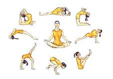 De yoga stelt reeks: de vrouw in oranje sportkleding in asana stelt, stelt de eenvoudige illustratieve inzameling van Stock Foto