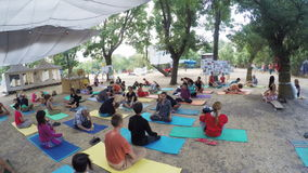 De yoga van groepshatha op ethno esoterisch festival stock footage
