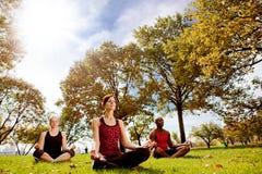 De Yoga van het park royalty-vrije stock fotografie