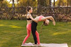 De yogainstructeur helpt beginner om asanaoefeningen openlucht te maken stock afbeelding