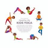 De yogajonge geitjes stelt reeks Stock Afbeelding