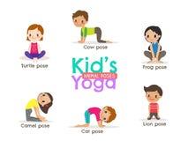 De yogajonge geitjes stelt vectorillustratie Stock Foto's