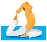 De yogamens toont zich de flexibiliteit en het uitrekken aan vector illustratie