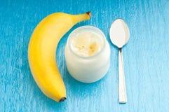 De yoghurt van de banaan Stock Foto's