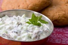 De yoghurt van de komkommer met rozijnen Stock Afbeelding