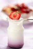 De yoghurt van het fruit stock afbeeldingen