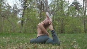 De yogi die in het bos medidating stock video