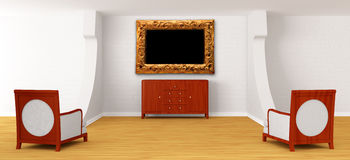 De zaal van het album met stoelen en dienst stock illustratie