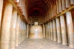 De zaal van het gebed, Bhaja, Maharashtra, India Royalty-vrije Stock Foto's