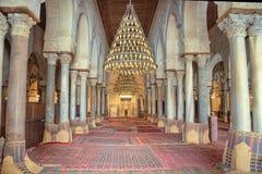De zaal van het gebed van de Grote Moskee van Kairouan Royalty-vrije Stock Foto