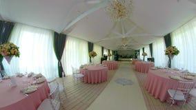 De zaal van het huwelijksbanket stock footage