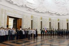 In de zaal van militaire glorie het Museum van de grote Patriottische oorlog op Poklonnaya-heuvel Royalty-vrije Stock Afbeelding