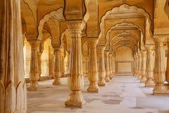 De Zaal van Sattaiskatcheri in Amber Fort dichtbij Jaipur, Rajasthan, Indi Royalty-vrije Stock Afbeelding
