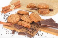 De zachte donkere koekjes van de chocoladebrownie Stock Fotografie