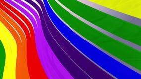 De zachte golvende glanzende abstracte lijnen van de strepenstof verzachten de animatie van de achtergrond stroom naadloos lijn n stock videobeelden