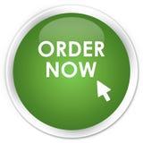 De zachte groene ronde knoop van de orde nu premie Stock Afbeelding