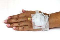 De zachte nadruk rond backhand is intraveneus een zoute oplossing Royalty-vrije Stock Afbeelding