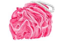 De zachte rood-violette badrookwolk of de spons of schrobt, geïsoleerd op transp Stock Afbeelding
