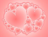 De zachte Roze Collage van de Harten van de Valentijnskaart Royalty-vrije Stock Afbeeldingen