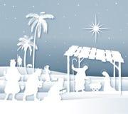 De zachte scène van de Kerstmisgeboorte van christus van het schaduwen Witte Silhouet met Magi royalty-vrije illustratie