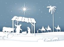 De zachte scène van de Kerstmisgeboorte van christus van het schaduwen Witte Silhouet met Magi stock illustratie