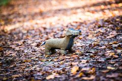 De zachte stuk speelgoed hond wordt geplaatst in de herfstbos Stock Fotografie